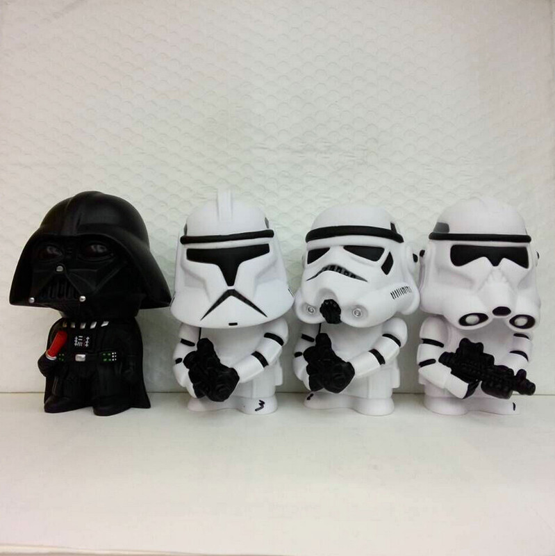 4 Style Star Wars 14cm Figure Vinyl Toy Piggy Coin Bank Darth Vader Stormtroops Action Figure Model Toy Clone Trooper Vader Gift