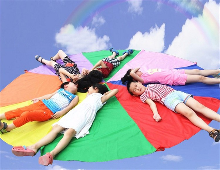 Купить с кэшбэком Child Kid Sports Development Outdoor Rainbow Umbrella Parachute Toy Jump-sack Ballute Play Parachute Multiple dimensions