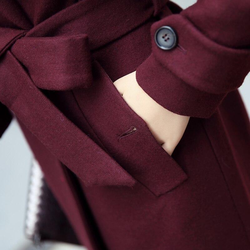 Nouvelle burgundy Black coréen Laine Femelle 2017 Vêtements D'hiver Cape Et Automne De Long red Manteau Corps Décoration Vent gFBIq