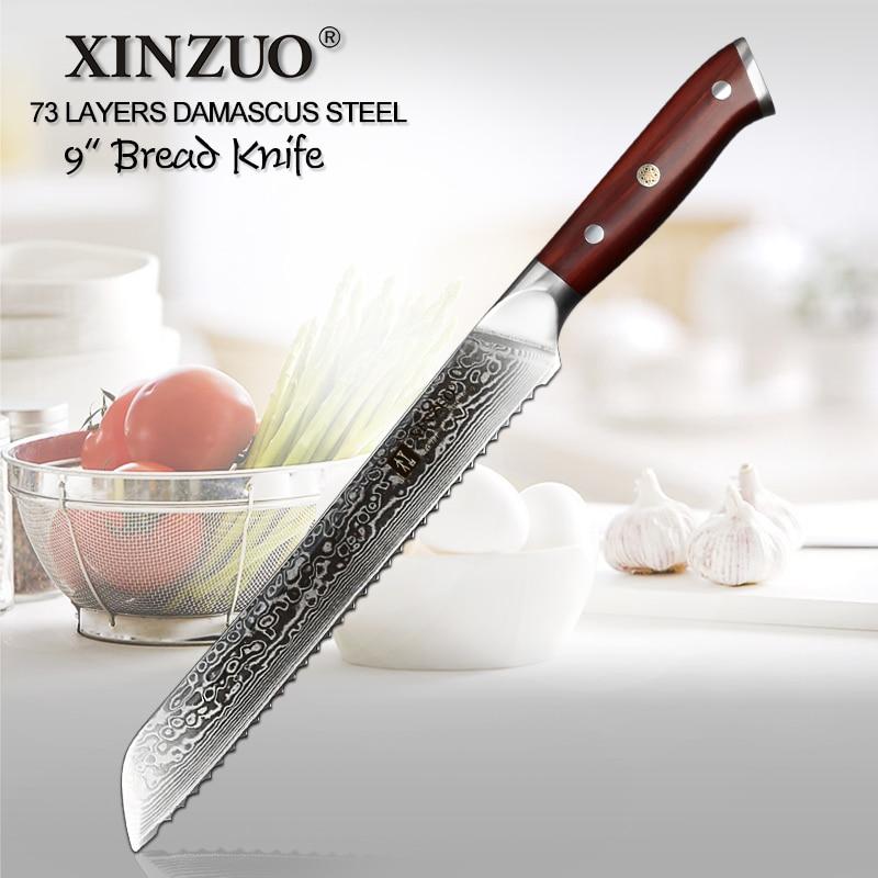 Lagere Prijs Met 2019 Xinzuo 9 ''inch Broodmes 73 Lagen Damascus Top Kwaliteit Gekartelde Messen Keukenmes Koken Gereedschap Met Palissander Handvat