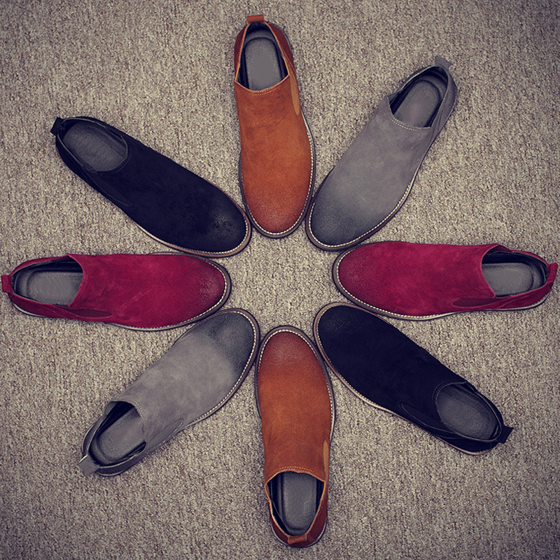 2018 New FashionVintage Nyata Kulit Pria Sepatu Chelsea untuk Kasual Berjalan Sepatu Bulu Rekreasi Ankle Martins Jatuh Flat
