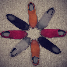 2016 New FashionVintage Real Leather Men Boots Chelsea Boots for Casual Walking Leisure Fur  Shoes Ankle Martins Fall Flats