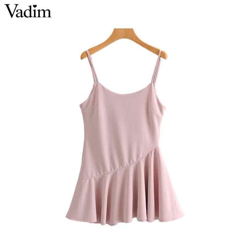 Vadim женское сексуальное розовое мини-платье с открытой спиной, регулируемые бретельки, молния сзади, без рукавов, женские повседневные платья A line vestidos QB417