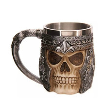 2018 Hot Striking Skull Warrior Tankard Viking Skull Beer Mug Stainless Steel Gothic Helmet Drinkware Coffee Game Of Thrones Cup(China)