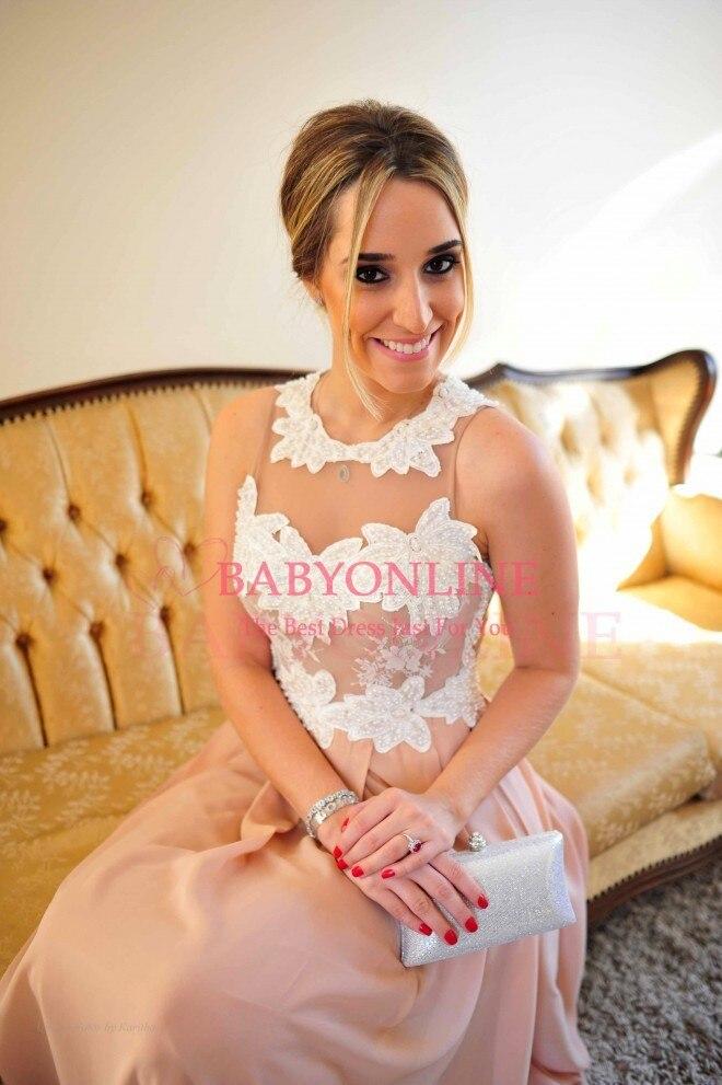 Robe De Renda rose Sexy longueur de plancher perlée corsage robe De soirée longues robes de bal voir à travers le dos Vestido De Festa longo - 4