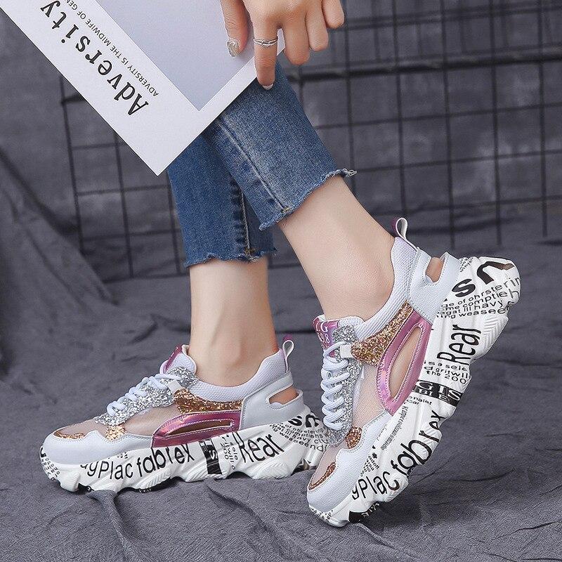 WoWomen Sneakers 2019 Summer Graffiti White Sneaker Women Mesh Casual Female Shoes Woman Thick Sole Platform baskets femme S1 14