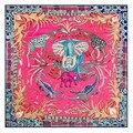 New animal elephant deer printed squar scarves Women brand shawls bandana Ladies' autumn winter 100% silk pink scarf
