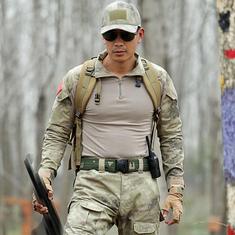 Trajes militares T Shirt táctico + pantalón hombres Hunter camuflaje de combate ropa con sombreros cinturones rodillera especial fuerza CS conjuntos de lucha - 2