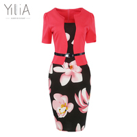 Yilia Patchwork Floral Bodycon Dress Women Muti Color Three Quarter Sleeve With Black Belt Silm Office