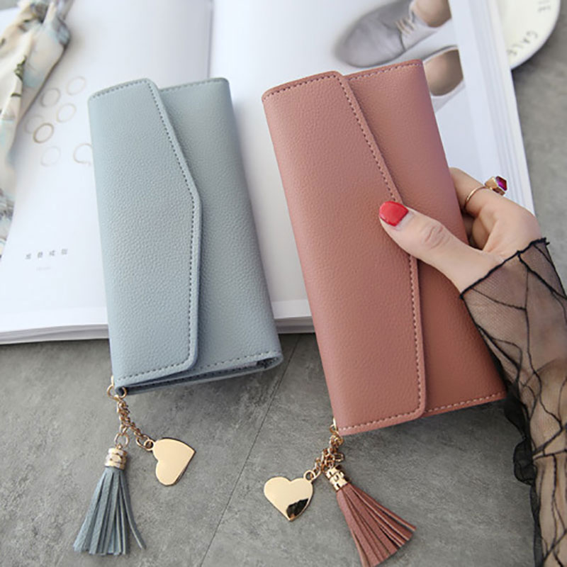Fashion Womens Leather Long Wallet Tassel  Card Holder Purse Black White Gray Long Section Clutch Wallet Money Bag(China)