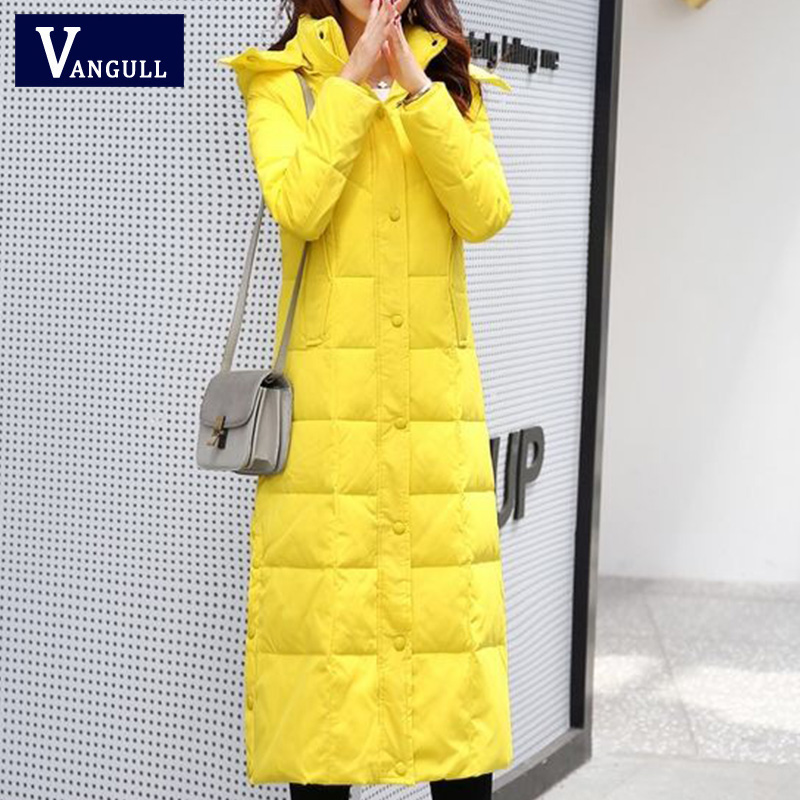 Vangull 4XL New White Duck Down Jacket Women Thick Long Winter Coat Women Hooded Korean Female Puffer Jacket Doudoune Femme 2019