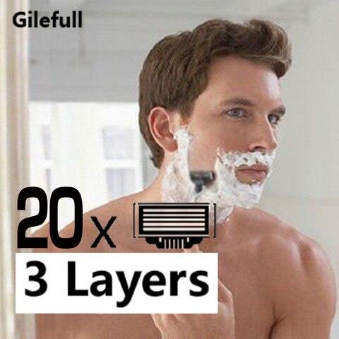 Aparador de Barba Manual de Lâminas de Barbear para o Padrão Camadas Homens Enfrentam Barbear Blades Razors Masculina Lâminas Barbeador Dropshipping 20 Pcs 3