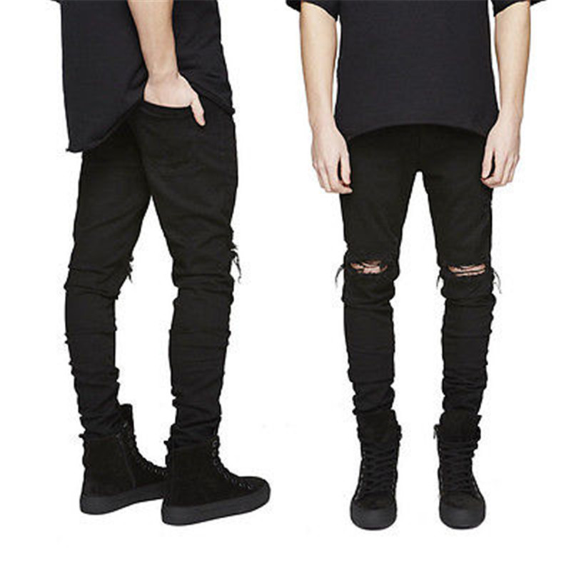 Hole Men Straight Destroyed Jeans New Casual Slim Ripped Jeans Homme Retro Mens Trousers Denim High Quality Cotton