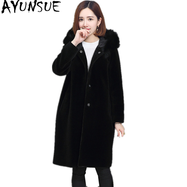 e14c9f86eba79 AYUNSUE 2018 Women Real Sheep Shearing Fur Coat Fox Fur Collar Hooded Coats  Medium-Long Winter Jacket Plus Size S-5XL WYQ768