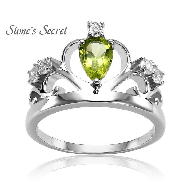 Prix pour Royal Crown Anneau Goutte D'eau D'anniversaire Naturel Pierre Péridot 925 Bague En Argent pour le Cadeau De Mariage Fine Jewelry SSPR001