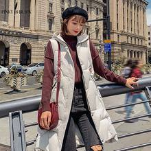 PinkyIsBlack Winter Vest Women Jacket Slim Hooded Coat Long Parkas 2019 Moda Mujer Invierno Female Waistcoat
