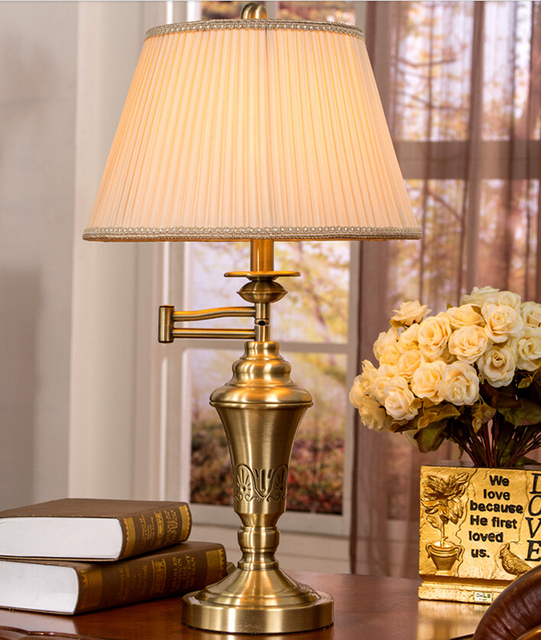 Aliexpress buy vintage d360mm h670mm bronze color table light vintage d360mm h670mm bronze color table light desk light swing arm table lamp ac 100 mozeypictures Image collections