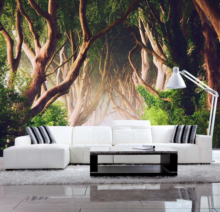 цены Custom 3D HD Three-dimensional Mural Wallpaper Living Room Bedroom Sofa TV Background Wall paper Green  Forest Photo Wallpaper
