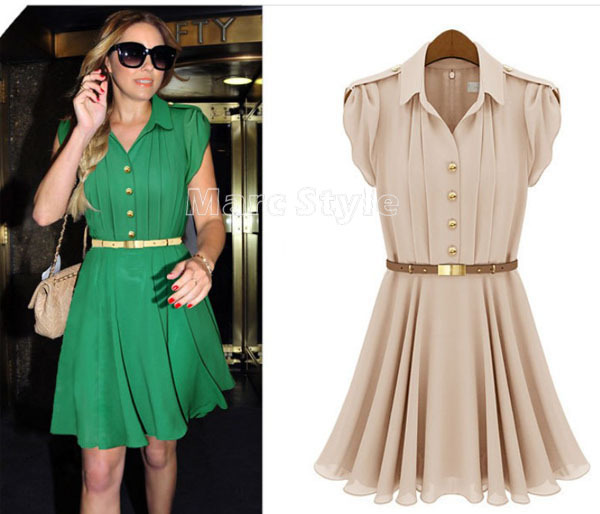 ab86752f620 Womens Fashion Pleated Chiffon Green Button Shirt Dress  WD043-in ...