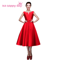 red tea length gown bridesmaid adult elegant brides maids dress women fall party dresses for a wedding guest under 100 H2643