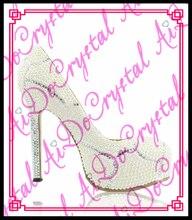 Aidocrystal Handmade Crystal Rhinestone Bride Shoes Pearl Wedding Pumps Women White Ultra High Heels 14CM