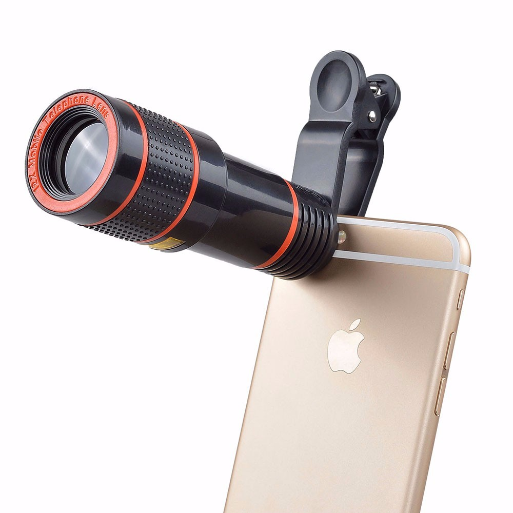 Clip-on 12x Optical Zoom Mobile Phone Telescope Lens HD Telescope Camera Lens For Universal Phones black one size 10