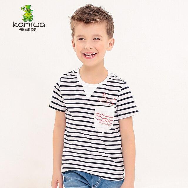 KAMIWA 2016 летний новый хлопок полосатый мальчиков, футболки shortsT Рубашки Дети майки топы одежда детская одежда freeshipping