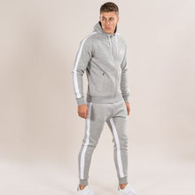 Men Sets 2017 Fashion Long Sleeve Slim Sweat Suits Hoodies Tracksuit Sweatshirt Two Piece Trousers male jacket + Pants Exercise