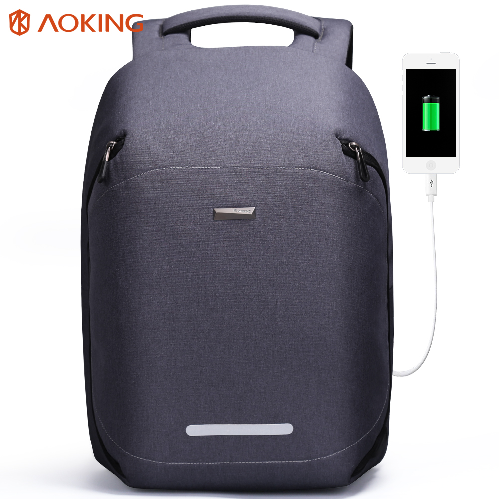 Aoking New Fashion Anti theft For College Student Daily Backpack Travel Backpack with Reflective Strip Waterproof Nylon Backpack
