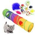 Красочные игрушки для кошек, набор для домашних животных, складной туннель, 2 отверстия, игровые трубки, шарики, перо в форме мыши, котенок, ко...