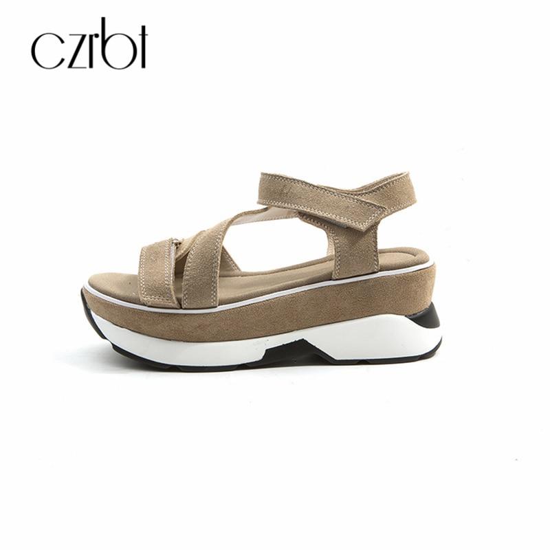CZRBT Summer Women Sandals Flats Natural Cow Suede Gladiator Style Casual Shoes Flats High Platform 6cm Female Big Size Shoes sandals women summer suede female gladiator roman 6cm wedges shoes