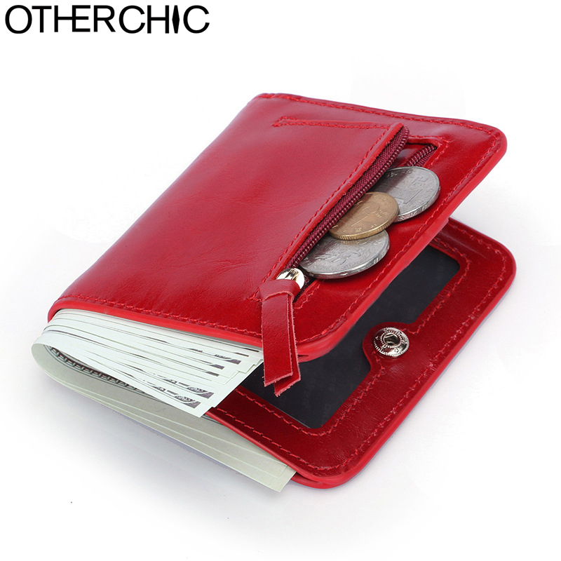OTHERCHIC Genuine Leather Women Short Slim Wallets Small Wallet Zipper Coin Pocket Purse Female Purses Mini Money Clip 7N03-26 otherchic women short wallets small simple wallet zipper coin pocket purse woman female roomy wallet purses money bag 7n01 14