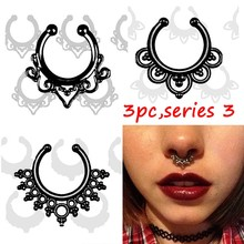 3PCS  crystal Black Fake septum Piercing nose ring Hoop For Women faux clip clicker non Titanium Body Jewelry