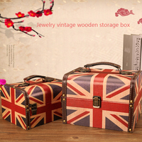 Creative Wooden Storage Box American Retro British Wind Meter Flag Home Desktop Sundries Jewelry Storage Boxes Birthday Gifts