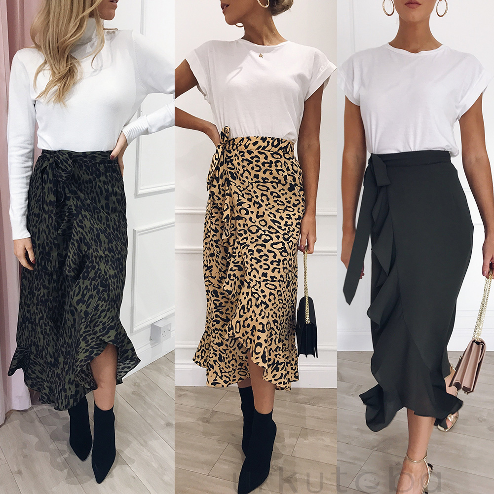 Hot Sale 19 New Slim Fashion Casual Women Leopard Print Boho Wrap Over Aysmmetric Loose Skirt Summer High Waist Midi Skirts 9