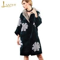 LVCHI зима 2019 натуральная шерсть шуба женская Норковая Шуба с меховым воротником длинное пальто с цветочным принтом тонкая овечья шерсть