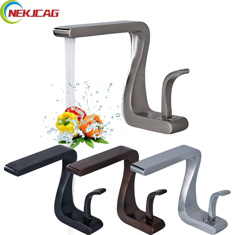 Newest Washbasin Design Single Hole One Handle Bathroom Basin Faucet Mixer Tap Hot and Cold Water ORB Chrome Brusehd wall of the cold and hot water tap copper concealed washbasin single hole basin faucet stainless steel waterfall faucet lt 304 4