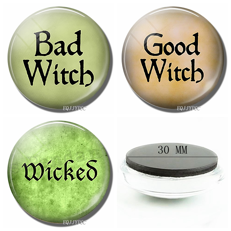 Bad Witcb or Good Witcb Letters Funny Refrigerator Magnets Souvenirs Glass Fridge Magnet for Kitchen Accessories Decoration Home in Fridge Magnets from Home Garden
