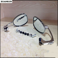 XUANKUN Retro Cafe Racer Motorcycle Side Hanging Rearview Mirror Reverse Mirror