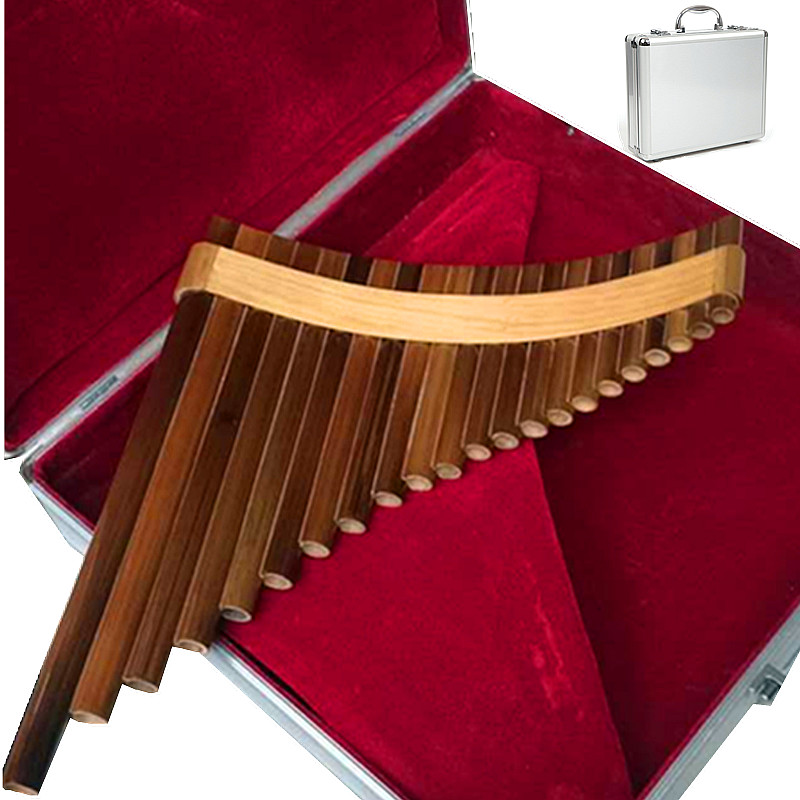 22 Pipes Professional bamboo PanFlute Curved Handmade Panpipes flauta xiao Musical Instrument Pan flute send Aluminium alloy box aluminium alloy professional fl 05r foldable small music stand musical instrument with double quilted carry bag 4 colors