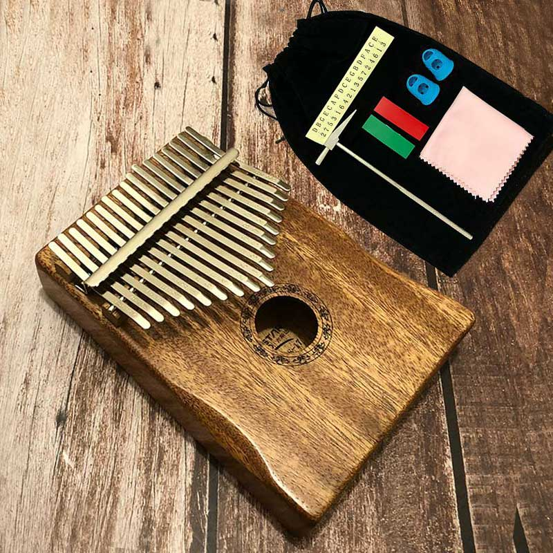 17 Keys Acoustic Kalimba Finger Thumb Piano Mbira Solid Mahogany Wood Keyboard
