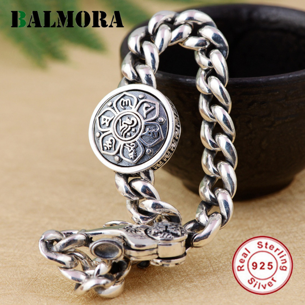 BALMORA Solid 925 Sterling Silver 360 Rapid Rotating Six Words Sutra Buddhistic Bracelet For Men Fashion Vintage Jewelry CK0102BALMORA Solid 925 Sterling Silver 360 Rapid Rotating Six Words Sutra Buddhistic Bracelet For Men Fashion Vintage Jewelry CK0102