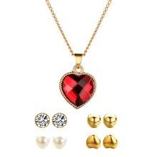 Elegant Luxury Jewelry Set Earring Necklace Pendant New Suit Ear Stud Crystal Earrings Necklace Drop Jewelry Sets Women недорого