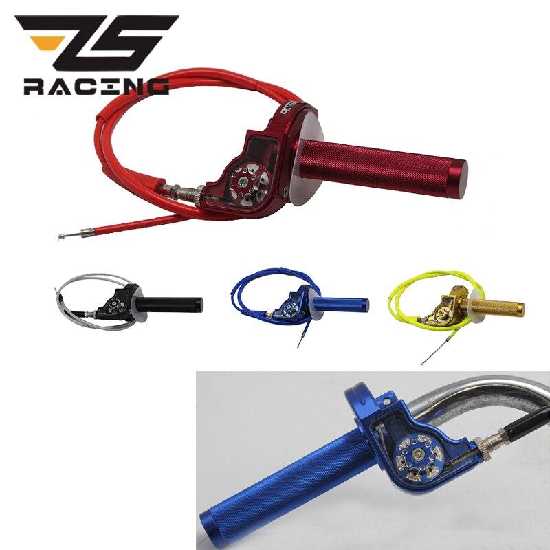 ZS Racing 22mm 7/8 ''poignées de tour d'accélérateur de moto régler le gaz de torsion avec le câble pour les vélos de fosse de saleté de Kayo esb Apollo 70-250cc