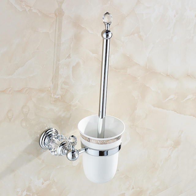 Toilet Brush Holders Luxury Wall Mounted Br With Crystal Ceramic Cup White Golden Bath