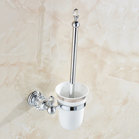Free Shipping Wall Mounted Brass Crystal Toilet Brush Holder Ceramic Cup White Brush Golden Bathroom Accessories