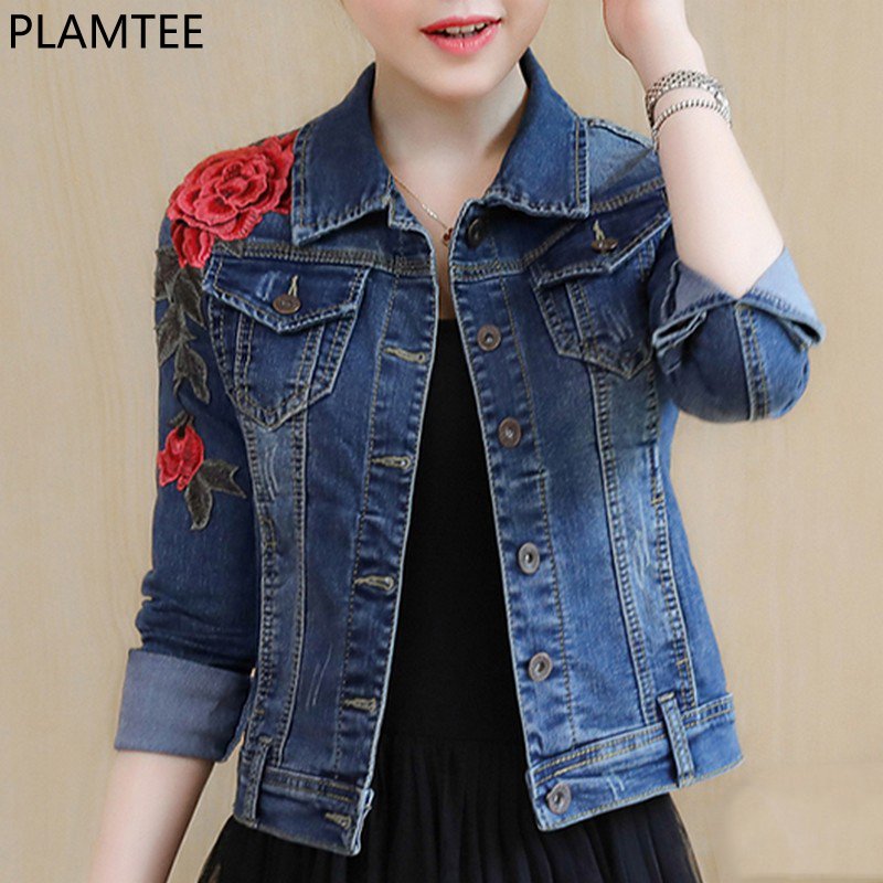 PLAMTEE Embroidery Basic   Coats   Autumn Winter Women Denim Jacket Floral Long Sleeve Female Jeans   Coat   Casual Skinny Girls Jackets