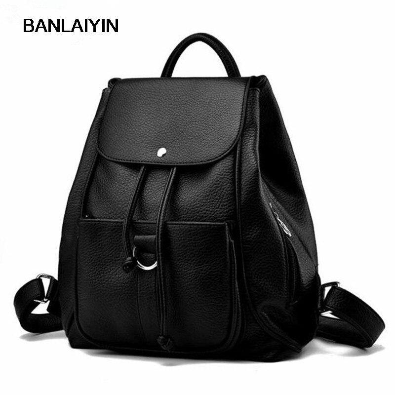Nice Black Color PU Leather Backpacks Korean Style Women Backpack Shoulder Bag Daily Travel Bags