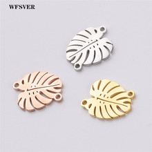WFSVER 5pcs/lot 14*16mm stainless steel leaves charms pendant 3 colors for diy women bracelet necklace jewelry making