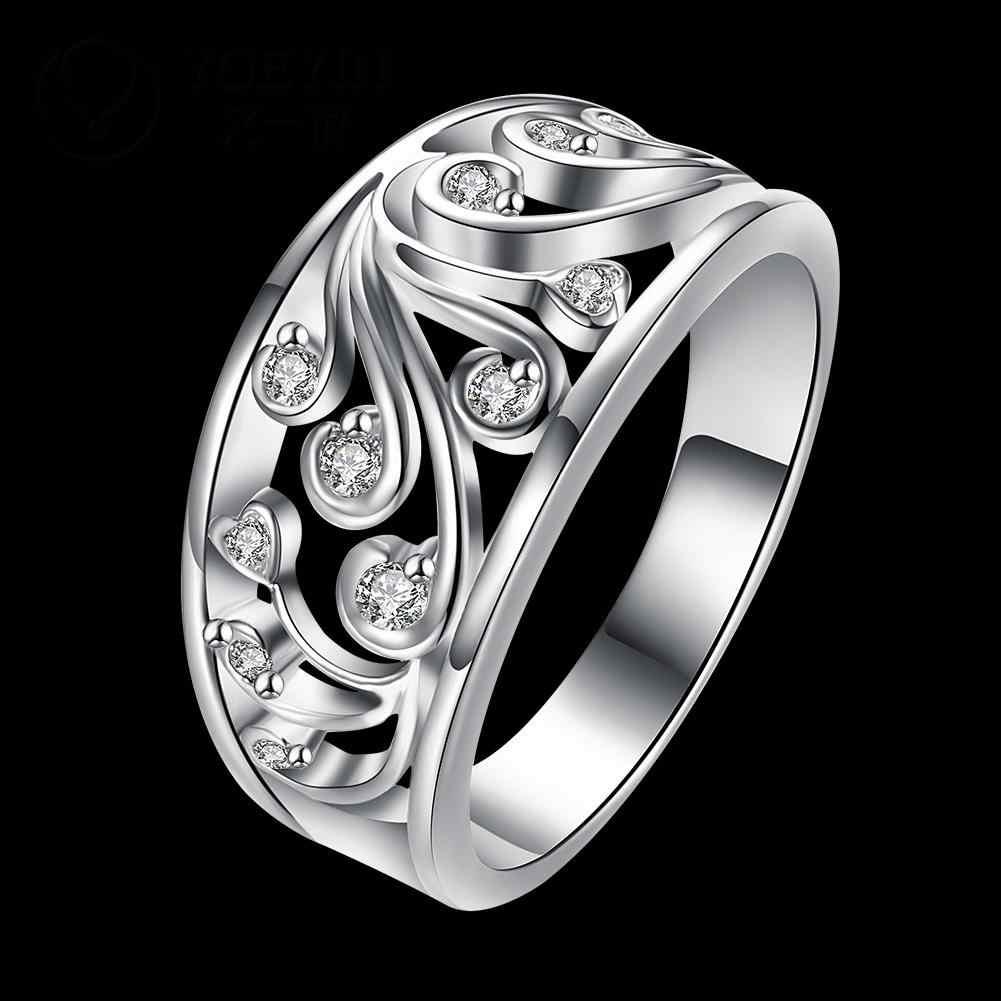 เงินงานแต่งงานแหวนสำหรับเจ้าสาวแฟชั่นเครื่องประดับ bague เงินโรแมนติกคุณภาพสูงจัดส่งฟรีแหวนหญิง